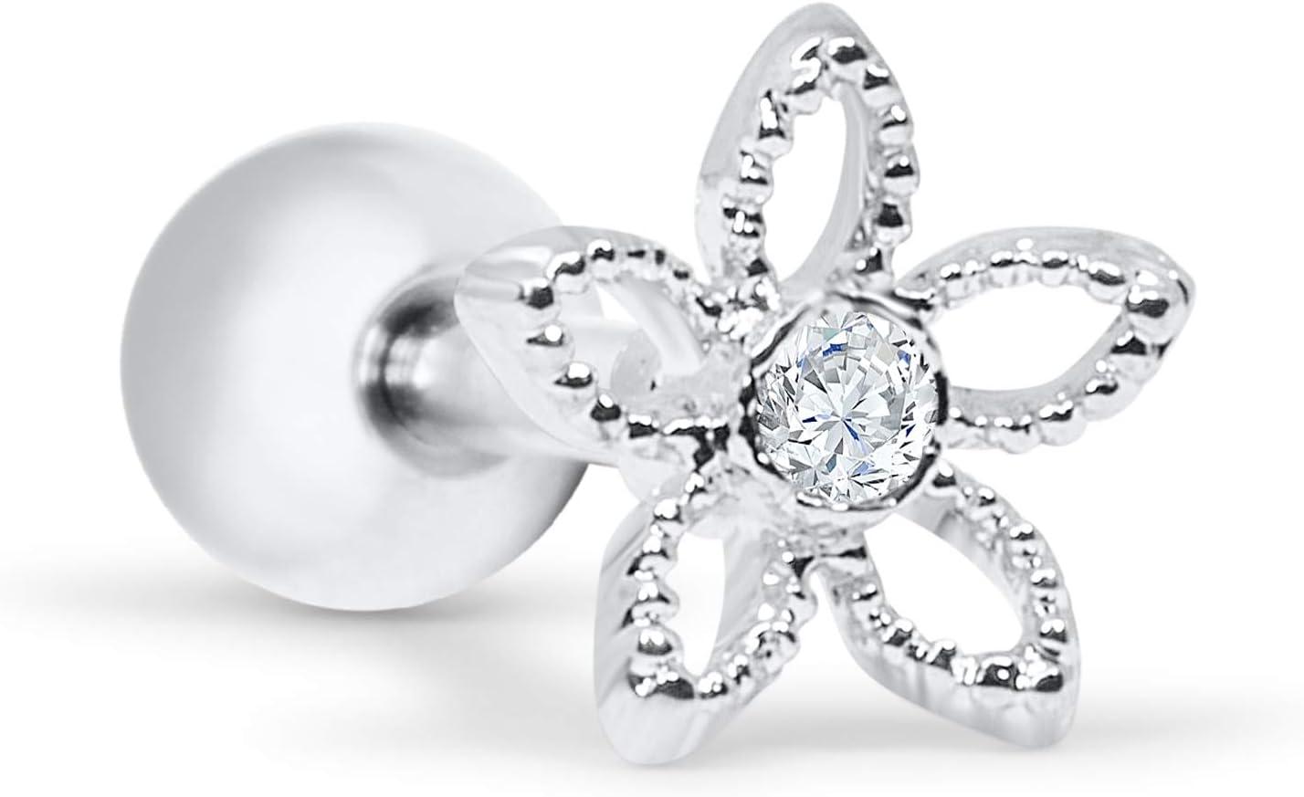 ONDAISY 14k Gold Plated Simulated Diamond Cz Jasmin Daisy Leaf Flower Ear Studs Post Ball Earring Piercing for Women