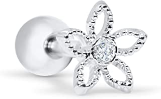 Infinitine 14k Gold Plated Simulated Diamond Cz Jasmin Daisy Leaf Flower Ear Studs Post Ball Earring Piercing for Women