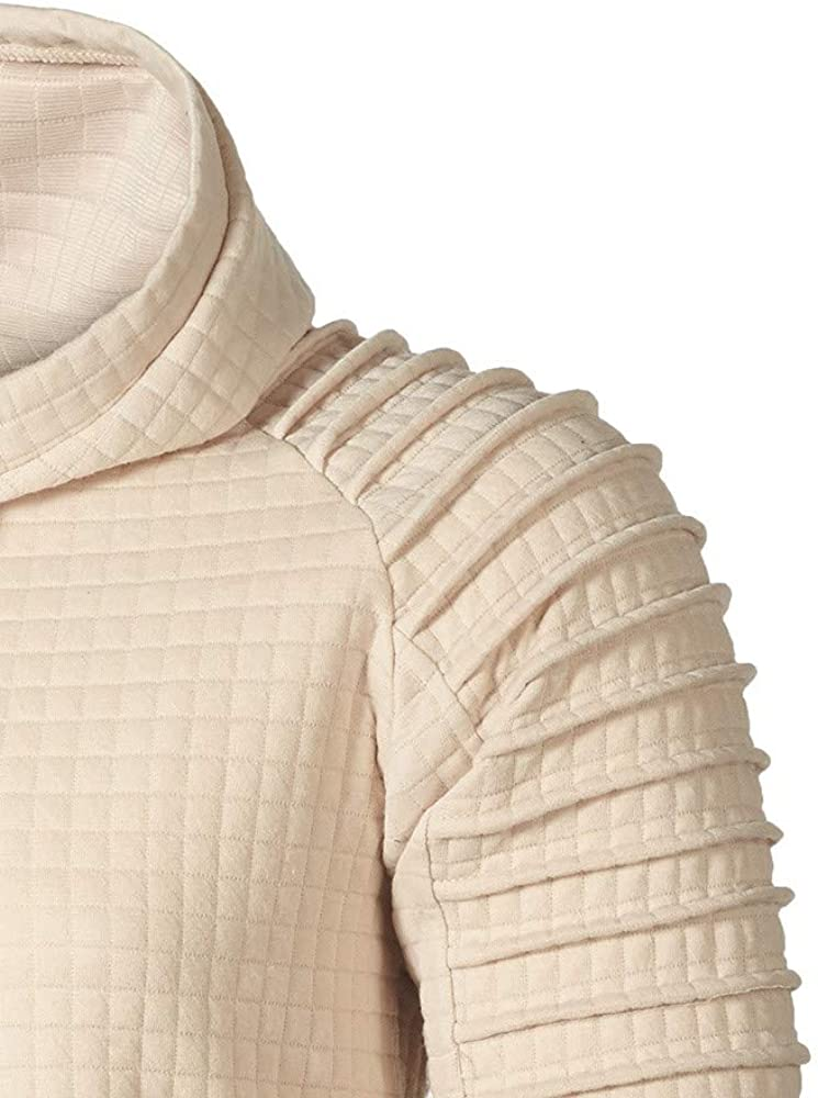 Mens Hooded Sweatshirt Long Sleeve Plaid Tops Classic Drawstring Pullover Blouse Lightweight Quick-Dry Sweatshirts