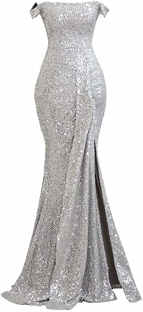 2022 Sparkle Sequined Fabric Mermaid Prom Evening Formal Dresses for Women Off The Shoulder Long with Sleeves