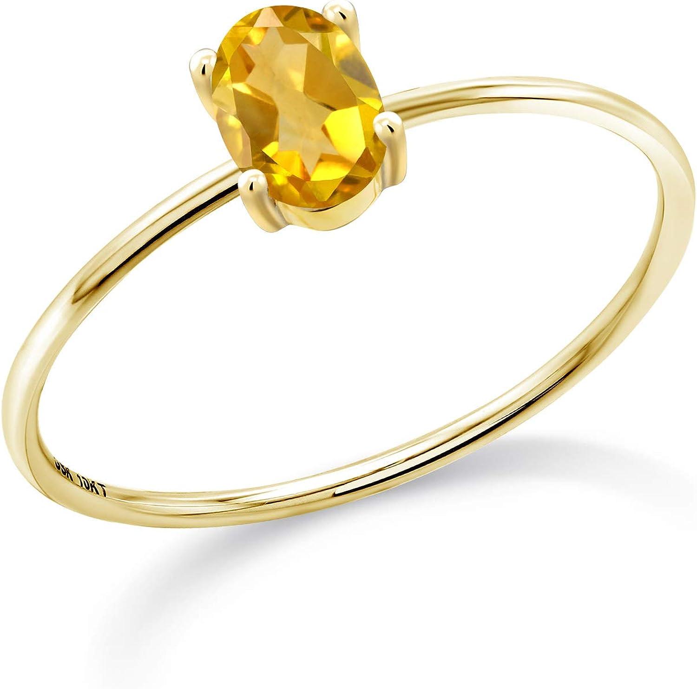 Gem Stone King 10K Yellow R Women Engagement Gold 人気ショップが最安値挑戦 予約販売 Citrine