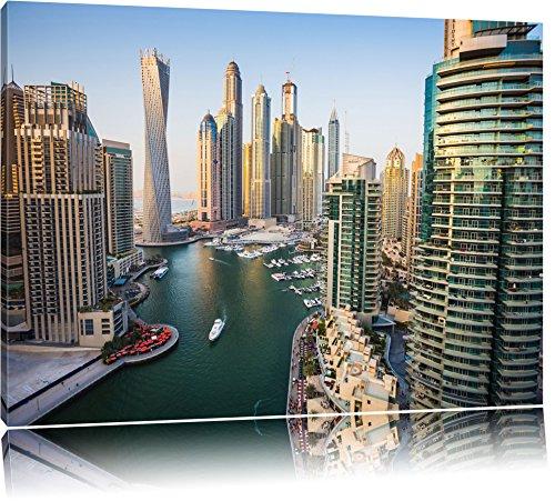 Pixxprint Dubai Metropole Format: 100x70 auf Leinwand, XXL riesige Bilder fertig gerahmt mit Keilrahmen, Kunstdruck auf Wandbild mit Rahmen, günstiger als Gemälde oder Ölbild, kein Poster oder Plakat