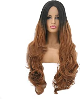 Hairpieces Hairpieces Fashian Gradient Lady Dyed Long Curly Hair Big Wavy Curly Hair Wig T Color Front lace Wig for Daily Use and Party (Color : Photo Color, Size : 22 inches)