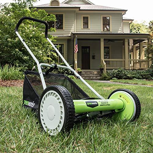 Greenworks 16-Inch Reel Lawn Mower with Grass Catcher 25052