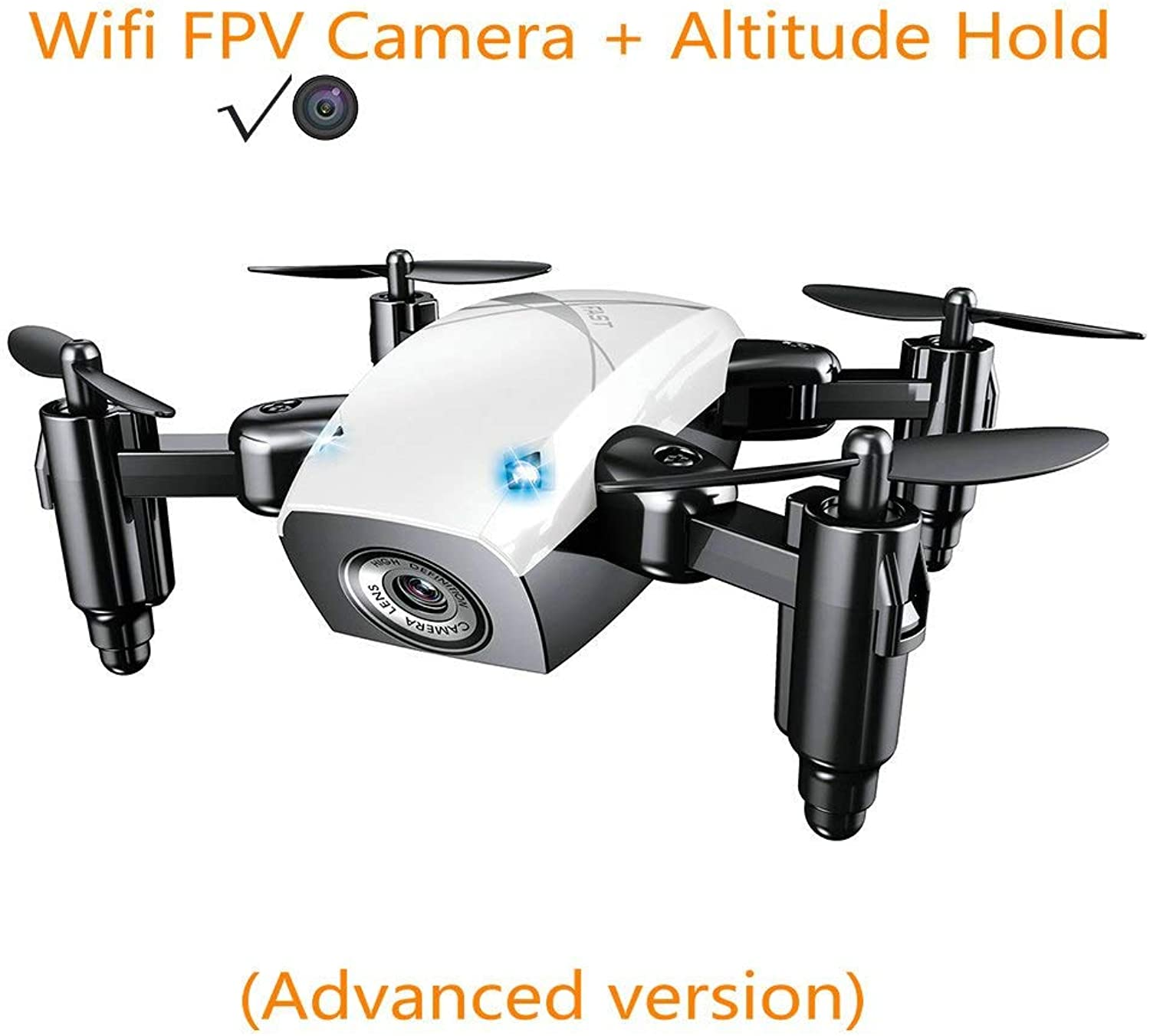 Generic Mini Drone with Camera HD Foldable RC Quadcopter Altitude Hold RC Helicopter WiFi FPV Micro Pocket Aircraft Toys for Kids White with Camera