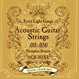 Aria アリア フォークギター弦 3セットパック 11-50 Extra Light エクストラライト AGS-203XL