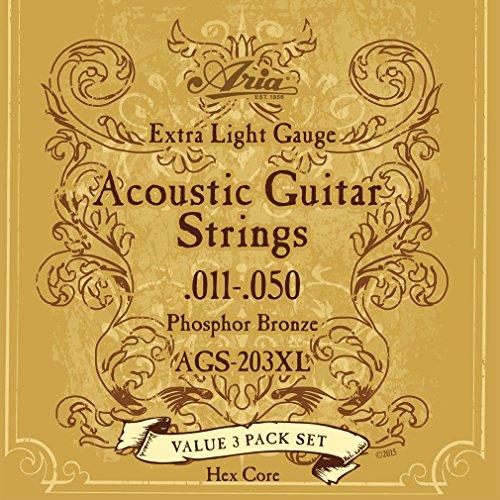 Aria(アリア)『フォークギター弦 3セットパック 11-50 Extra Light エクストラライト AGS-203XL』
