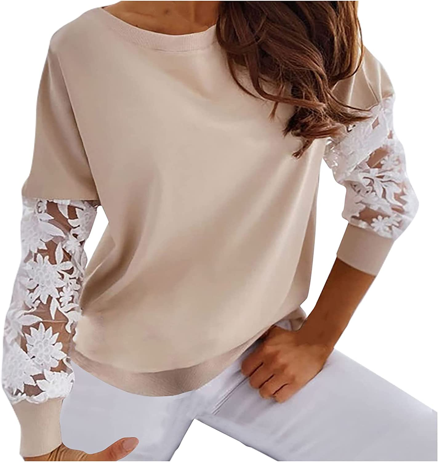 Women's Round Neck Pullover Hoodies Lace Splicing Long Sleeve T-Shirts Casual Fashion Sweatershirts