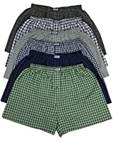 ToBeInStyle Men's Pack of 6 or 3 Classic Fit Tartan Plaid Boxers w/Button Fly (2XL, 6-Pack - Assorted Colors)
