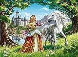 Puzzle 1000 piezas Pintura de belleza de niña y caballo blanco puzzle 1000 piezas educa Juegos familiares para adultos divertidos para niños Rompecabezas de juguete de descomp50x75cm(20x30inch)