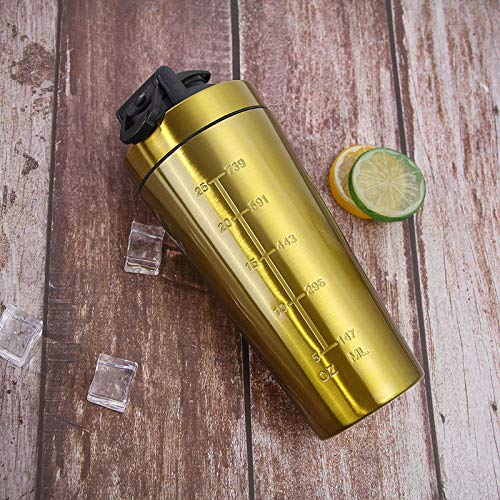 Stainless Steel Protein Shaker Bottle Gym Shaker Sports Milk Shaker Water Bottle Whey Protein Shaker Cup Water Cup-Gold