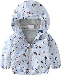Dinokids Boys Lightweight Printed Jackets Quick-Dry Little Boys Zipper Jackets Windproof Hooded Coat
