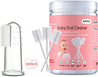 Baby Tongue Cleaner, Baby Toothbrush, 42Pcs Disposable Infant Toothbrush Clean Baby Mouth,Gauze Gum Cleaner Toothbrush Bab...