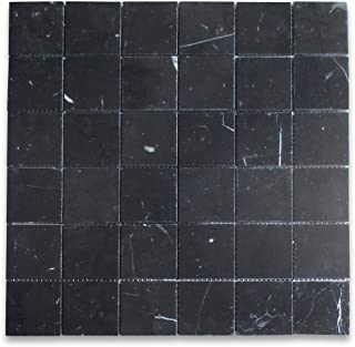Nero Marquina Black Marble Square Mosaic Tile 2 x 2 Honed
