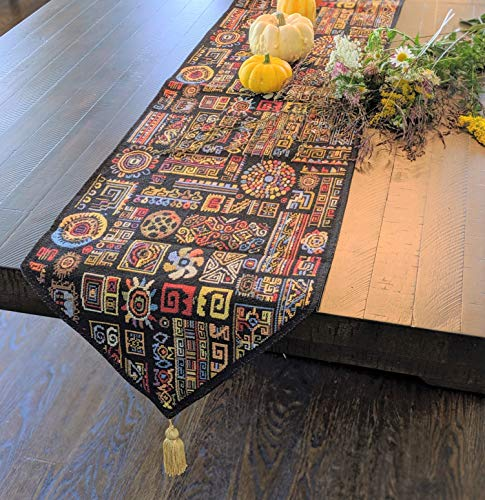 DaDa Bedding Tapestry Table Runner - Ethnic Ornament Geometric Black - Multi-Colorful Cotton Linen Woven Dining Mats - 13' x 72'