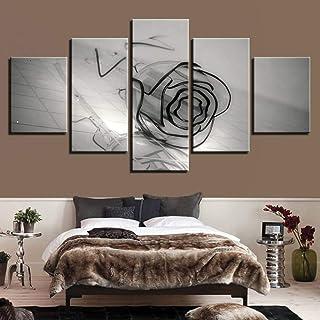 HYLBH Peinture Murale d'art White Glass Rose Artwork Posters 5 Piece Canvas Art Painting Modern Home Decoration Wall Pictu...