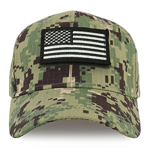Trendy Apparel Shop Youth Military Black White American Flag Patch Tactical Cap - NWU Camo
