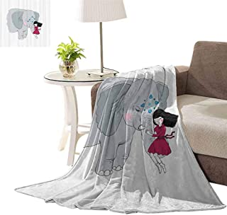 williamsdecor Girl on Trunk of Elephant Print Soft Throw Blanket Unicorn Blanket for Bed Couch Sofa Lightweight Travelling Camping for Kids Adults, 60x80 Inch