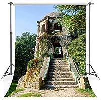 HD5x7ft風景背景ソフトファブリックレトロタワー緑の木々写真の背景ポートレート写真スタジオの小道具LHFS446
