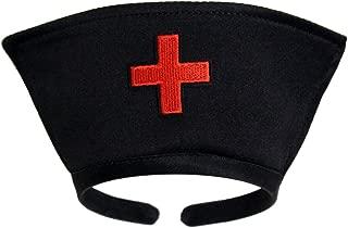 Black Nurse Hat Headband with Red Cross - Halloween Costume Accessory