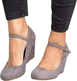 Kathemoi Womens Wedge Pumps Ankle Strap Closed Toe Suede Heeled Marry Jane Work Shoes