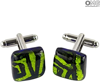 Cufflinks - Fluo Geen - Original Murano Glass OMG