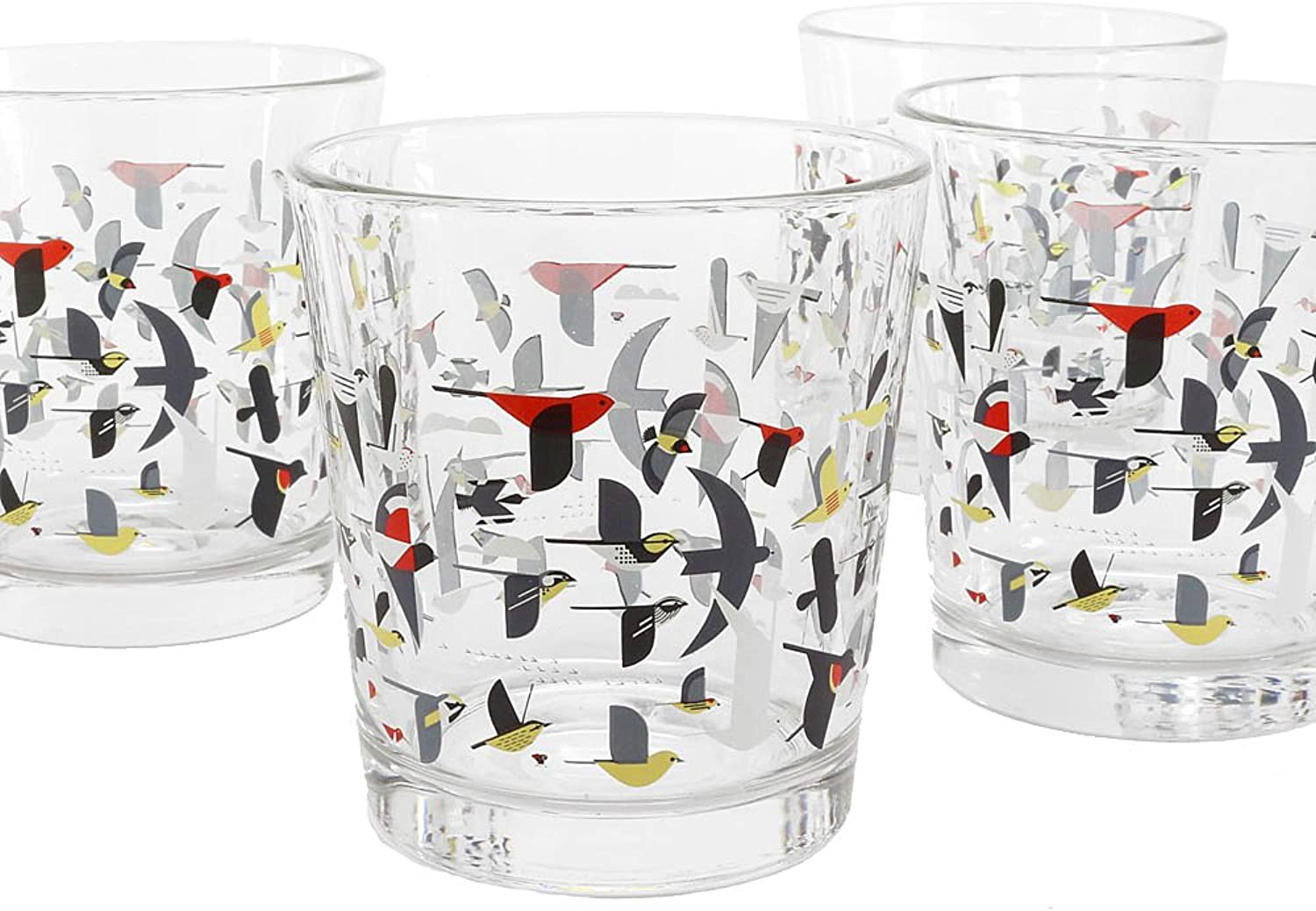 Charley Harper Double Old Fashioned Migration Glasses (Box of 4)