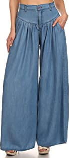 Vibrant High Rise Pleated Denim Trousers