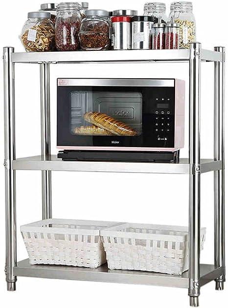 Amazon Com 3 Tier Small Kitchen Microwave Stand Stainless Steel Mini Fridge Toaster Rack Storage Shelf Kitchen Organization Size 10 50 80cm Home Kitchen