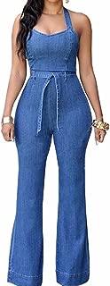 Women's Halter Lace Up Backless Casual Wide Leg Blue Denim Long Jumpsuit Playsuit Rompers with Belt