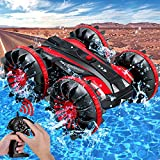 Amphibious Remote Control Car for Kids, 2.4 GHz 4WD Amphibious RC Vehicle Rotate 360° Spins & Flips Boat Truck Stunt Car, Toys for 5-12 Year Old Boys, Christmas Birthday Gifts (2020 Newest), Red