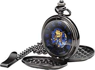Men's Mechanical Steampunk Vintage Pocket Watch with Chain Roman Numerals Skeleton Pocket Watches with Gift Case