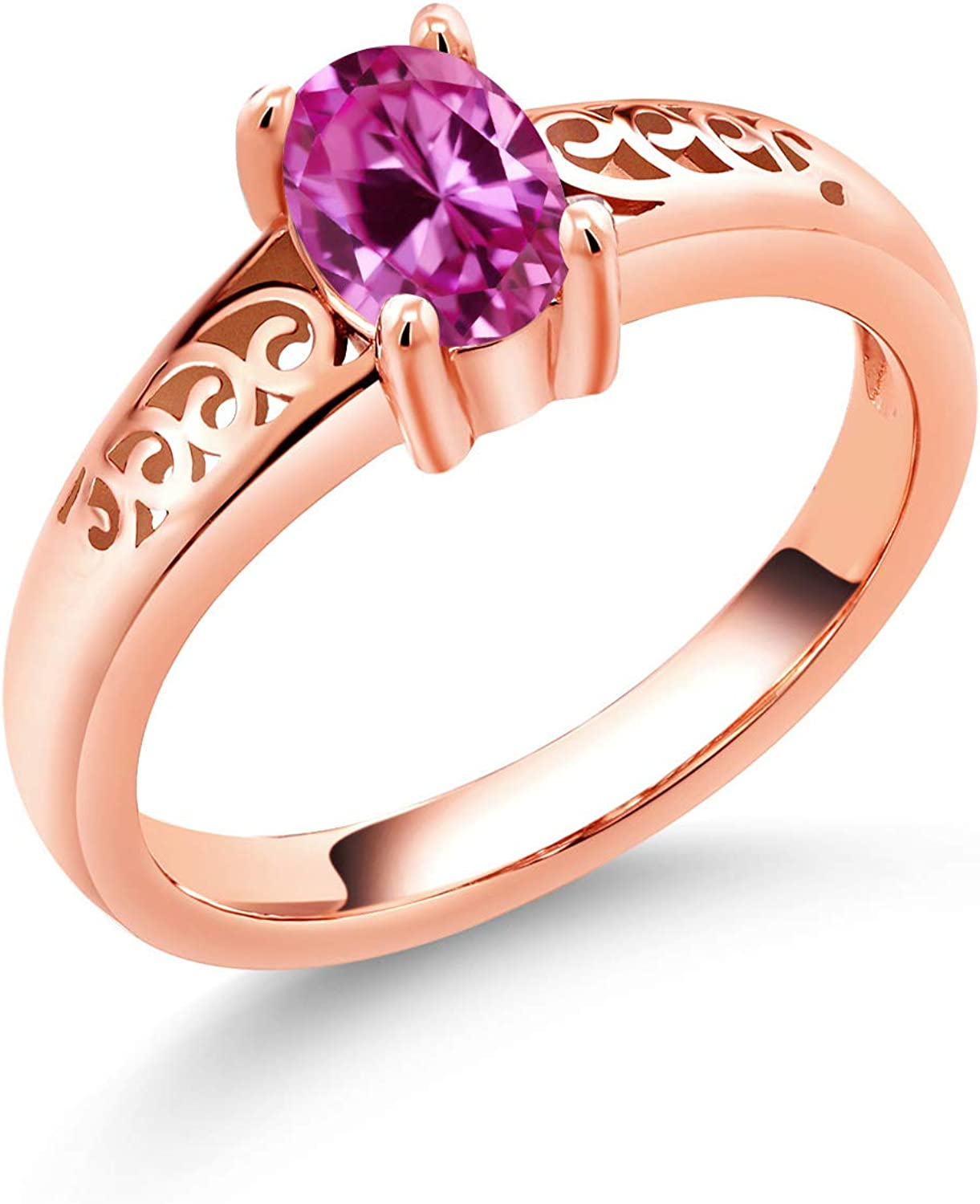 Gem Stone King 0.90 Phoenix Mall Ct Oval Sapphire Gold 18K Rose Pink Created Max 63% OFF