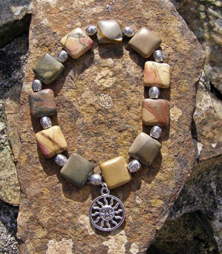 Shining Sun Jasper bracelet, Autumnal colours, square and round beads. Handmade in Cornwall