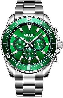 Megir Mens Stainless Steel Quartz Watch Business Chronograph Rotating Bezel Calendar Multi-Function Watch