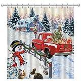 Pinata Weihnachts-Duschvorhang, Schneemann-Winter-Duschvorhänge mit rotem LKW für Badezimmer-Dekor, 183 x 183 cm