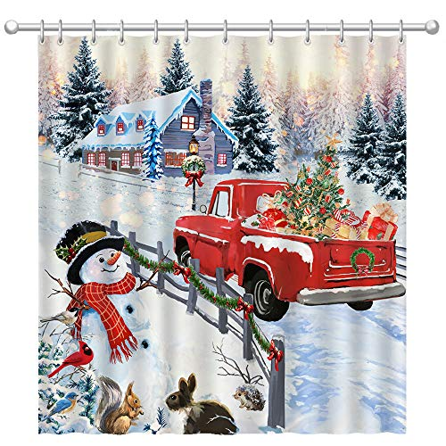 "Pinata Christmas Shower Curtain, Snowman Winter Shower Curtains with Red Truck for Bathroom Decor, 72""X72"""
