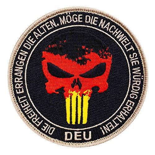 Café Viereck ® Punisher Patch mit Deutschland Flagge - Gestickt mit Klett - 10 cm