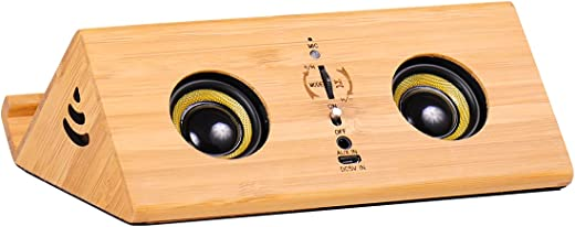 Arwares Multifunctional Portable Bluetooth Speaker, 5.0 Bluetooth Stereo Solid Wood Speaker, with Stand, Microphone and Sensor Function, Crystal…