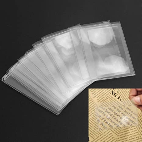 5 Pcs Loupe Lens Reading Helper Size 3X Magnifying Magnifier Credit Card Pocket