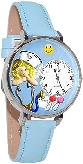 Whimsical Watches Unisex U0620030 Nurse Angel Baby Blue Leather Watch