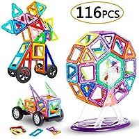 【🎁 116 pezzi di blocchi magnetici】- Il set di blocchi magnetici comprende 26 quadrati, 26 triangoli equilateri, 2 coppie di ruote auto, 8 pezzi di ricambio di ruota panoramica, 2 triangoli lunghi, 2 prismi, 2 rettangoli piccoli, 1 x rettangolo lungo ...