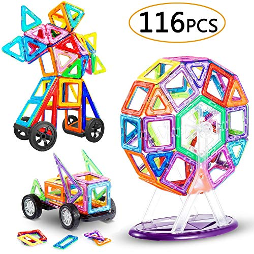 LIVEHITOP 116 PCS Magnetische Bausteine Set - Magnet Bauklötze Konstruktion Blöcke Teilen Pädagogische Spielzeug Geschenk Geburtstag Weihnachten für Kinder ab 3 Jahre