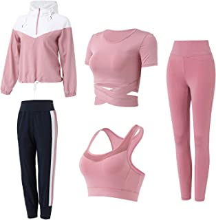 Nantew 5pcs Women's Workout Sets Fitness Tracksuits Yoga Running Tennis Activewear Gym Outfits