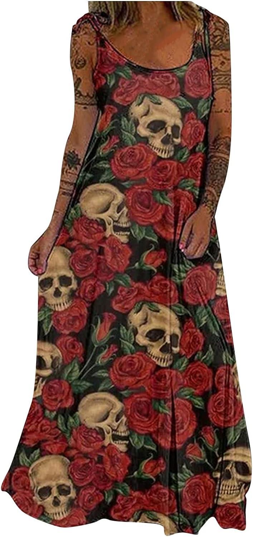 NLLSHGJ Dresses for Work Office Women Casual Skull Print Sleeveless Strap Loose Long Round Neck Cocktail Dress