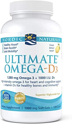 Nordic Naturals Ultimate Omega D3 - Supports Cardiovascular, Brain Health, Healthy Bones and Immune System, Lemon, 120 Soft Gels
