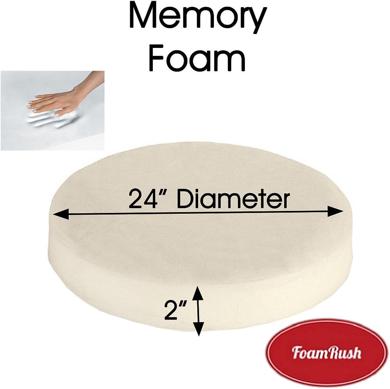 FoamRush 2  x 24  Diameter Premium Quality Memory Foam (Bar Stools Seat Cushion Pouf Insert Patio Round Cushion Replacement) Made in USA