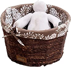 YAYADU Storage Basket Rattan round Finishing Box Masks magazines book Cotton Lined Removable High capacity Store home hote...