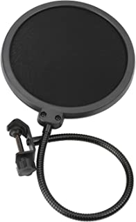 Pop Filter - Studio Double Round Shape Microphone Screen Pop Filter Double Layer Sound Shield Guard Wind Screen with Swivel 360 Degree Flexible Gooseneck Stabilizing Arm For Recordings, Broadcast