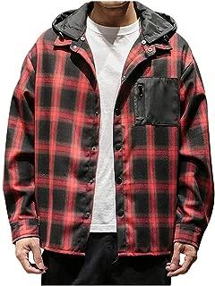 Men's Casual Fashion Plaid Printing Loose Hoodie Removable Long Sleeve Shirt Top